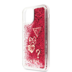 iPhone 11 puzdro zadné, rapsberry GUESS Glitter Hearts